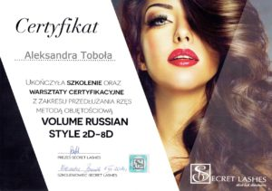 Certyfikat Aleksandra Toboła
